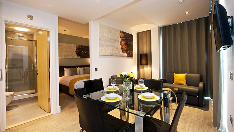 Welcoming dining area at Staycity London Greenwich High Road - Citybase Apartments