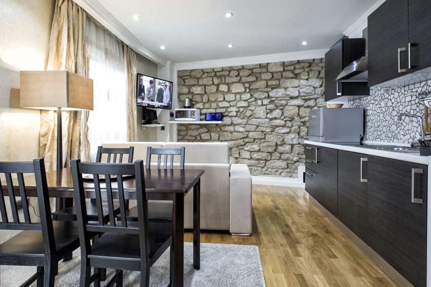 Open-plan kitchen at Villa Liberty Apartments - Citybase Apartments