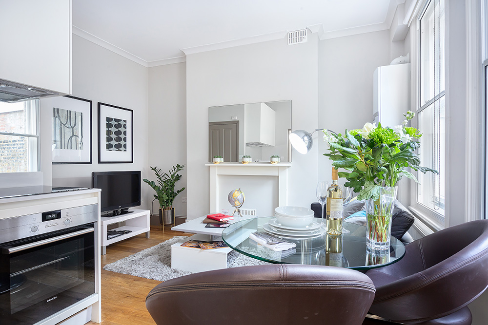 Open-plan living area at Cleveland Residences Serviced Apartments - Citybase Apartments