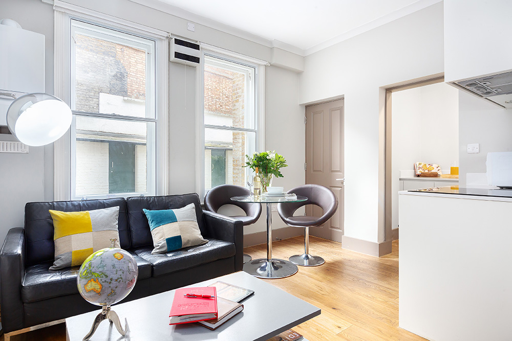 Bright living room at Cleveland Residences Serviced Apartments - Citybase Apartments