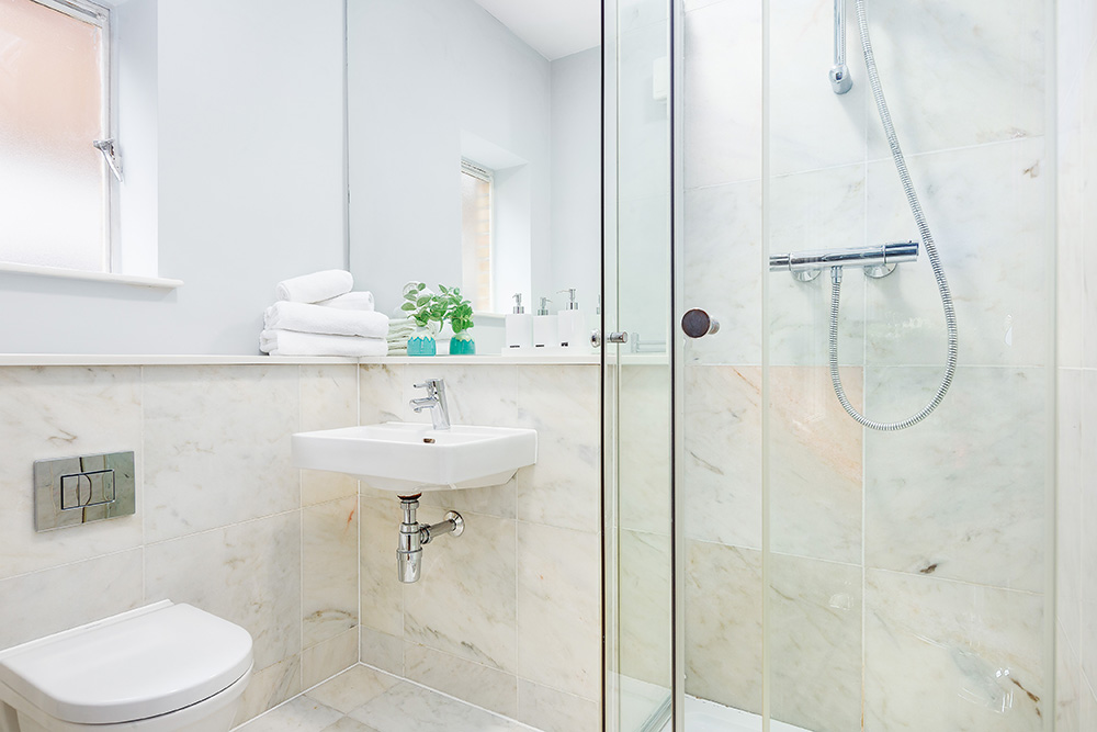 Shower at Cleveland Residences Serviced Apartments - Citybase Apartments