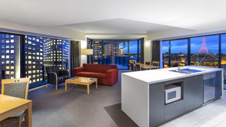 Living area in 2 bed at Mantra Southbank Melbourne - Citybase Apartments