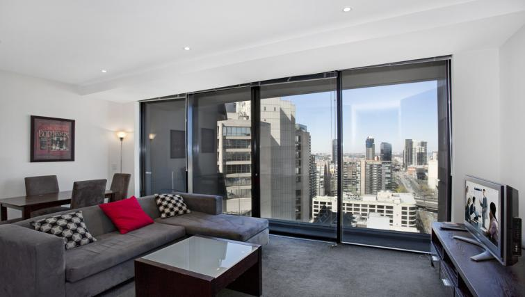 Spacious living area at Astra Melbourne CBD Liberty Tower - Citybase Apartments