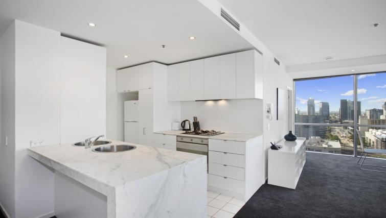 Kitchen at Astra Melbourne CBD Liberty Tower - Citybase Apartments