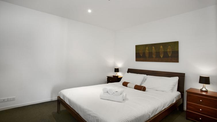Modern bedroom at Astra Melbourne CBD Liberty Tower - Citybase Apartments