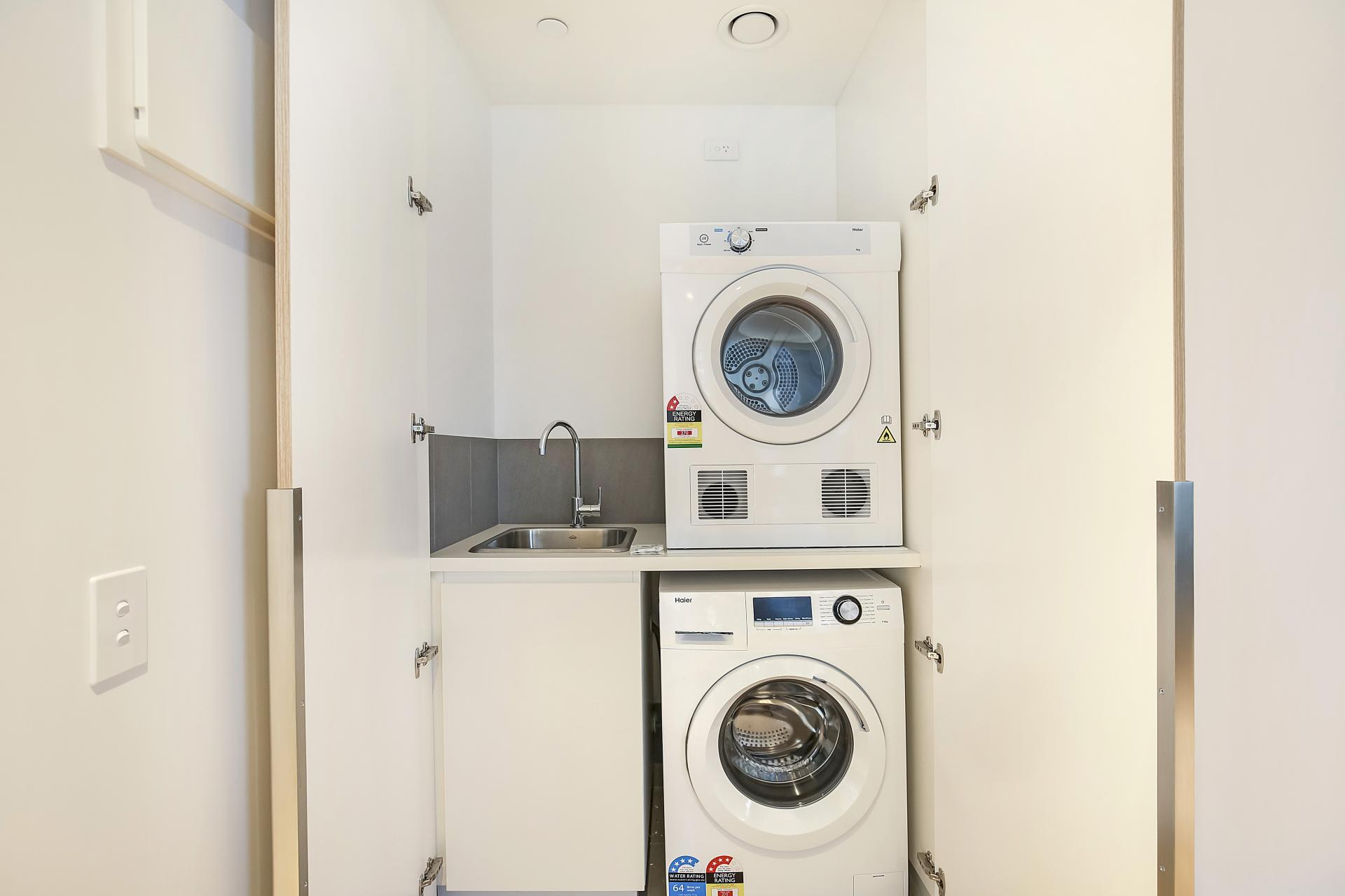 Laundry at Astra Melbourne CBD Liberty Tower - Citybase Apartments