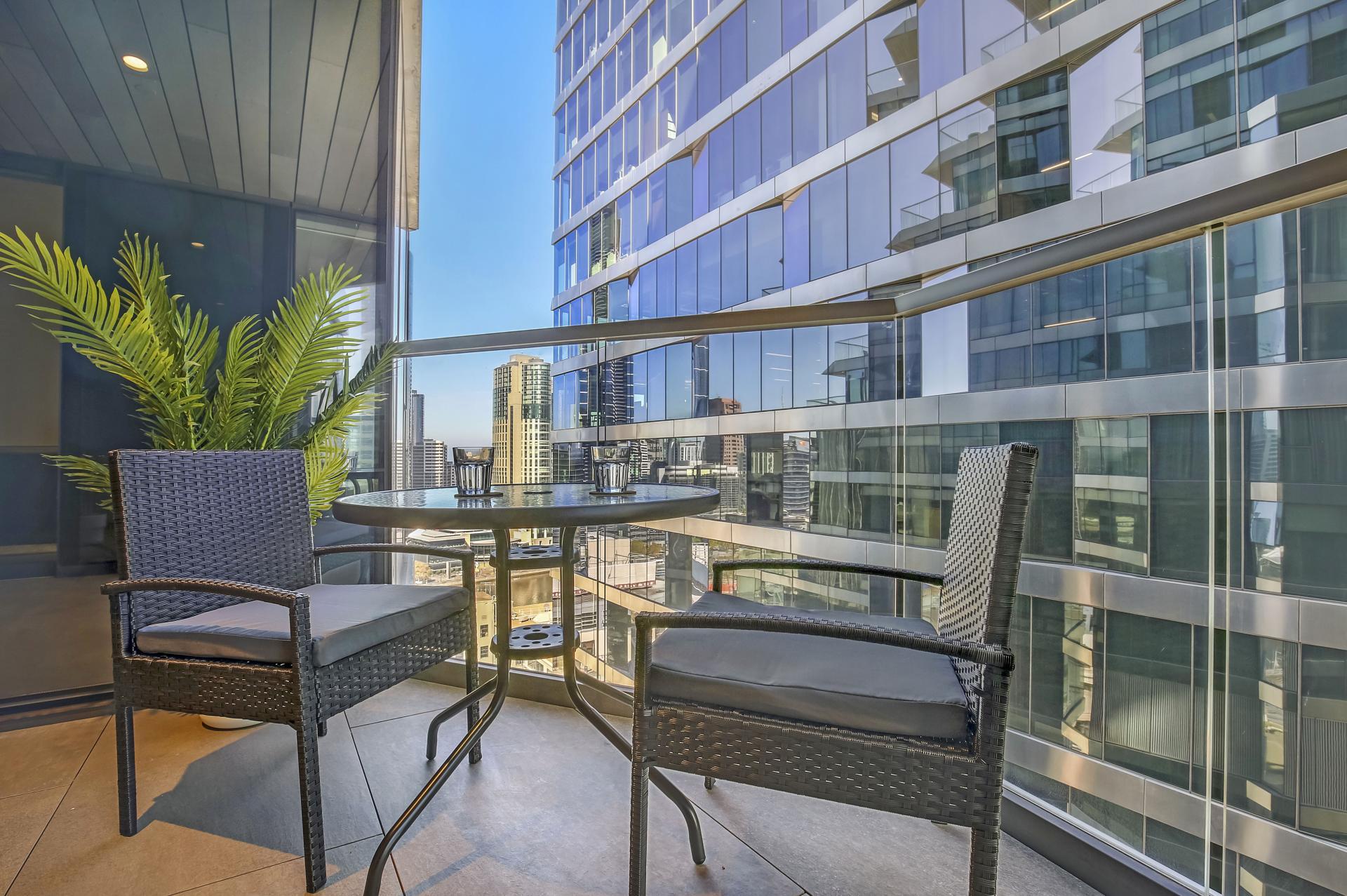Balcony at Astra Melbourne CBD Liberty Tower, Centre, Melbourne - Citybase Apartments