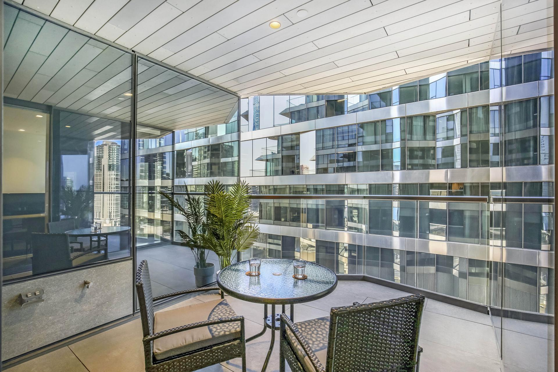 Seating area at Astra Melbourne CBD Liberty Tower, Centre, Melbourne - Citybase Apartments