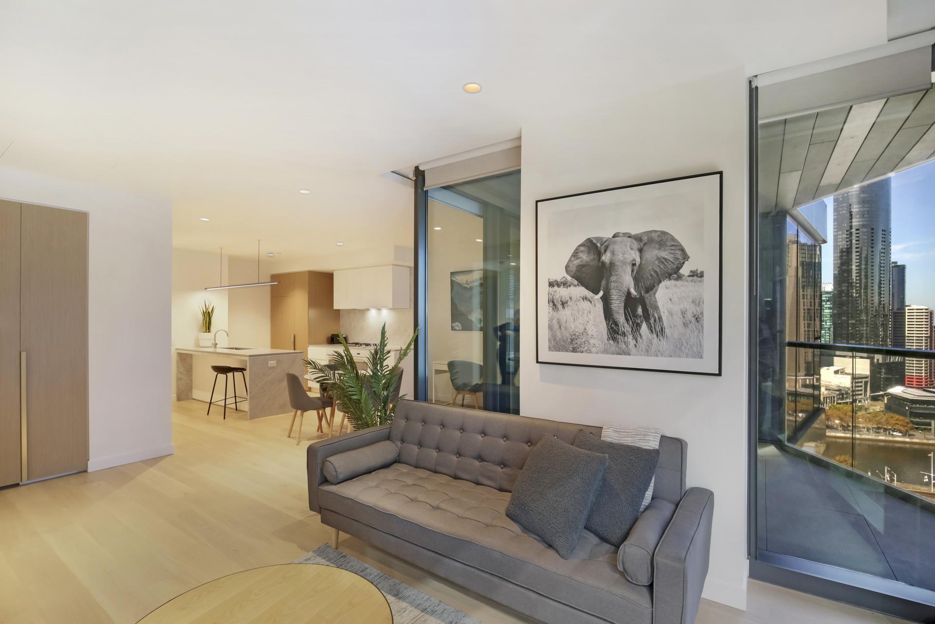 Sofa at Astra Melbourne CBD Liberty Tower, Centre, Melbourne - Citybase Apartments