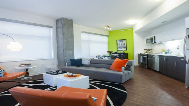 Living room at Venn Apartments - Citybase Apartments