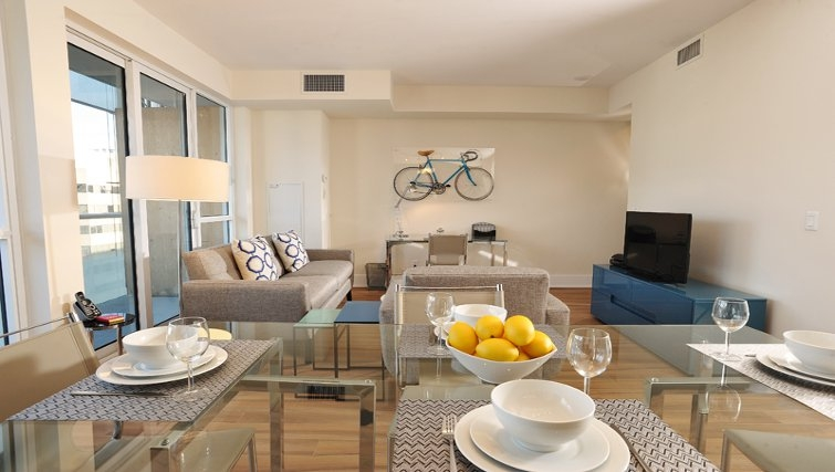 Open plan living area at 300 Front Apartments - Citybase Apartments