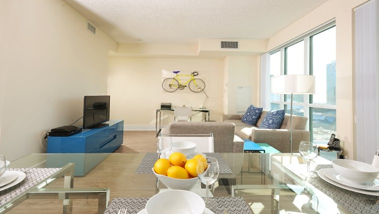 Modern living area at 300 Front Apartments - Citybase Apartments