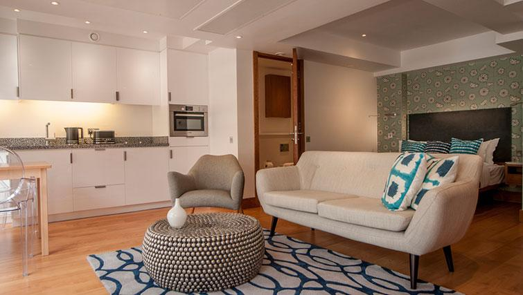 Modern living area at Native Aldgate Apartments - Citybase Apartments