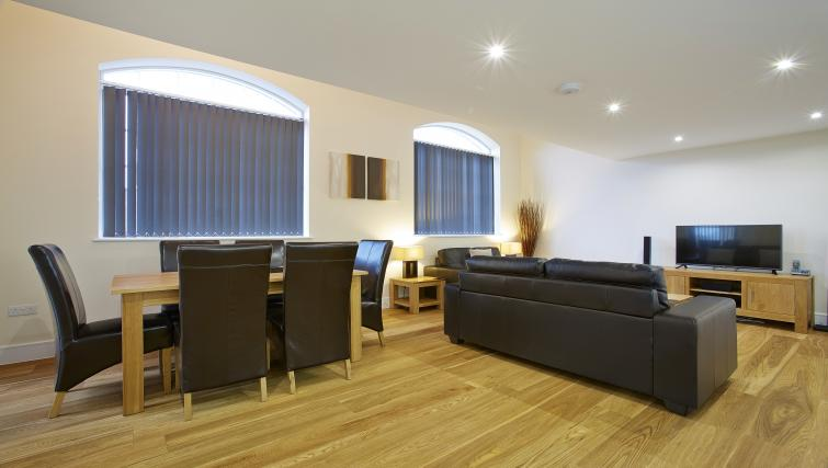 Open-plan living area at Old British School Apartments - Citybase Apartments