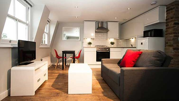 Open-plan living area at Brook Green Apartments - Citybase Apartments