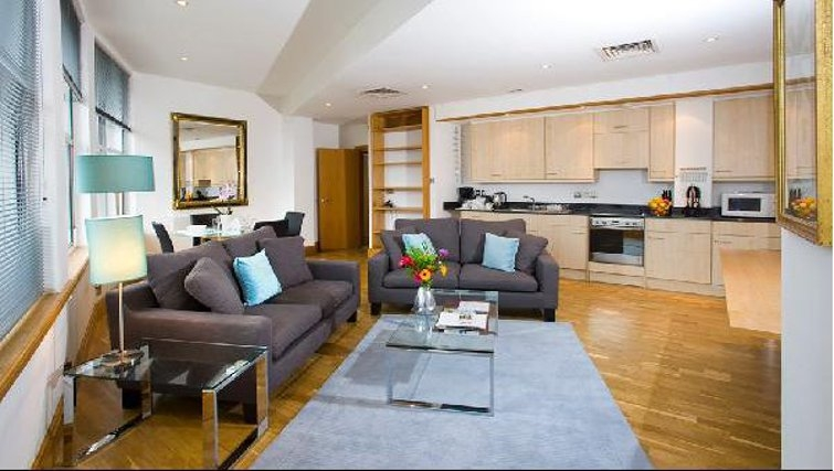 Open plan living area in Oakwood Monument Street Apartments - Citybase Apartments