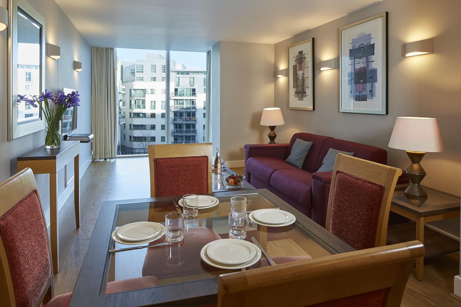 Dining area at Empire Square Apartments, London Bridge, London - Citybase Apartments