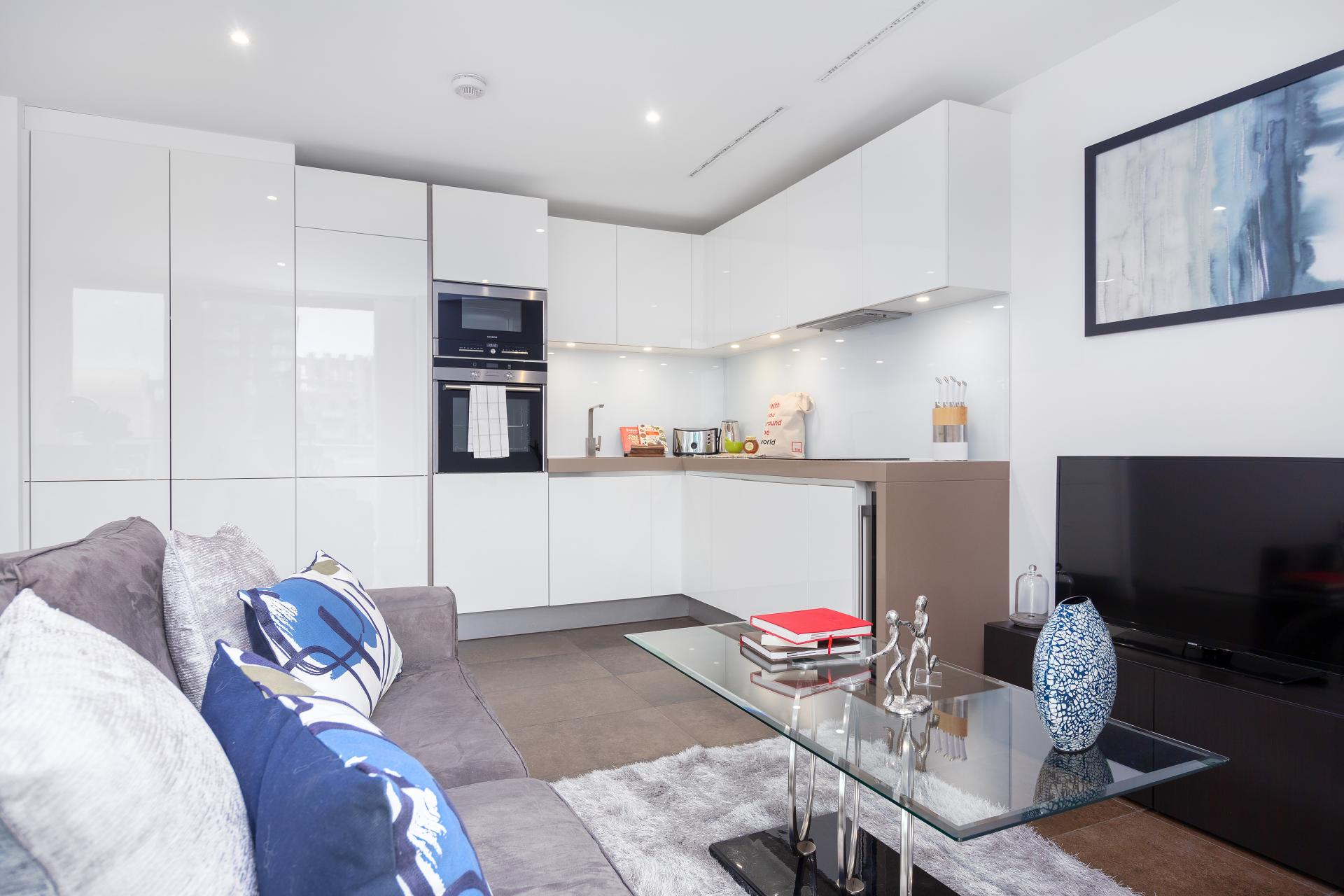 Open-plan living space at Lexicon Book House Apartments - Citybase Apartments