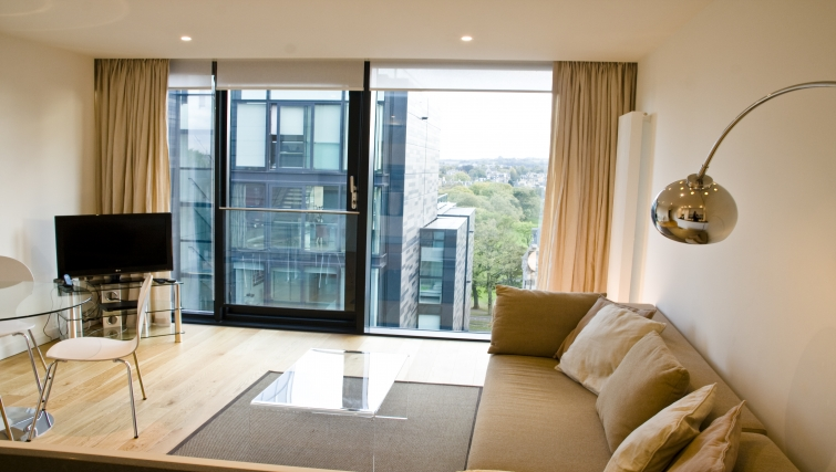 Bright and airy living area at Quartermile Simpson Apartments - Citybase Apartments