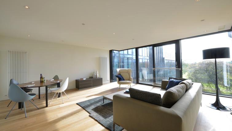 Spacious living area at Quartermile Simpson Apartments - Citybase Apartments