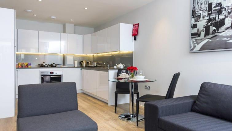 Open-plan living area at Milestone Apartments - Citybase Apartments