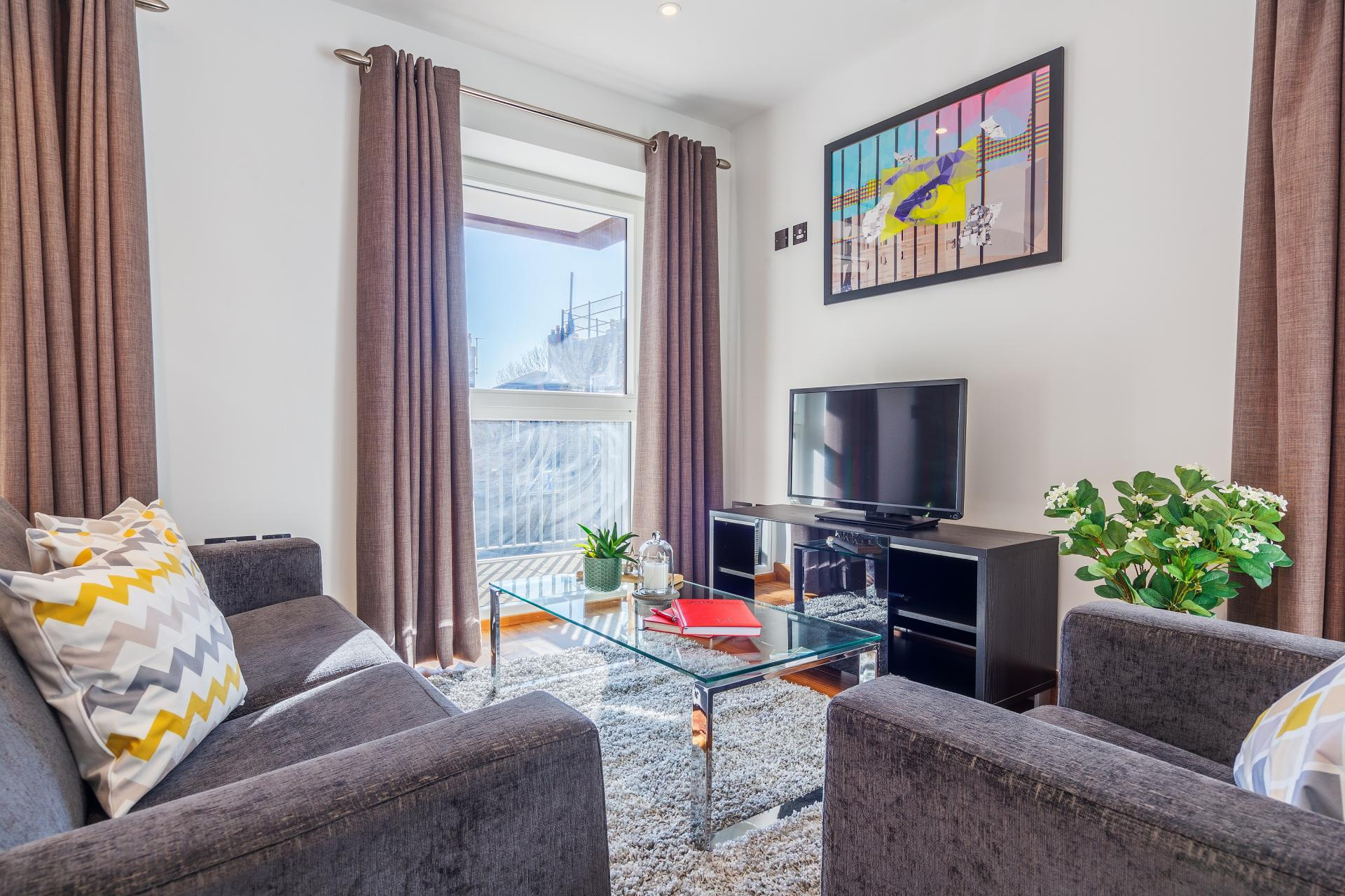 Living room at Shoreditch Square Apartments - Citybase Apartments