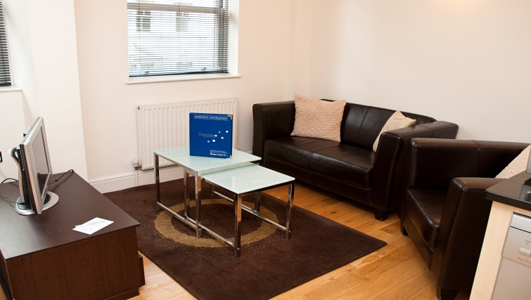 Simple living area at Clarendon 140 Minories - Citybase Apartments