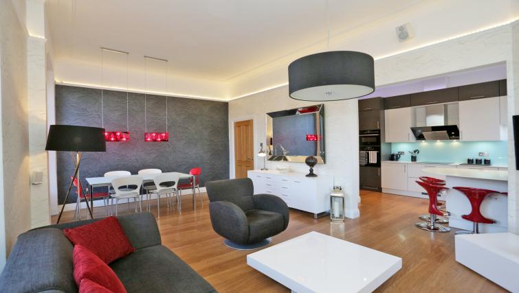 Open plan living area at 1A Golden Square Apartments - Citybase Apartments