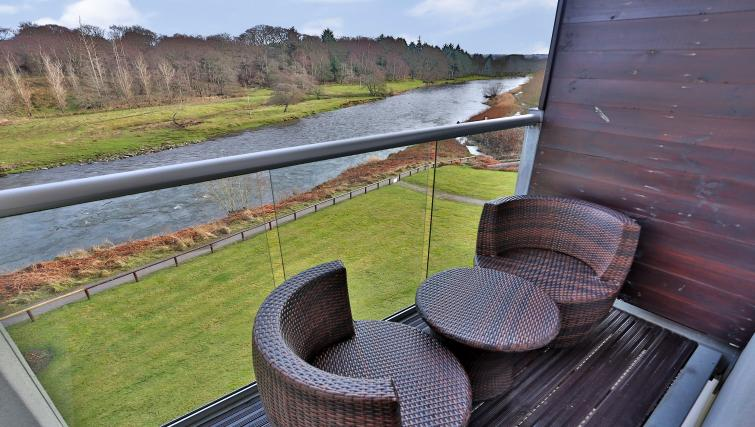 Balcony seating and biew at Burnside Apartment - Citybase Apartments