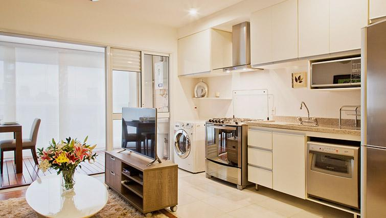 Equipped kitchen at DNA Pinheiros by Q Apartments - Citybase Apartments