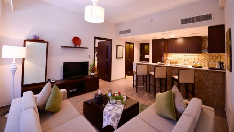 Living area at Links Hotel Apartments - Citybase Apartments