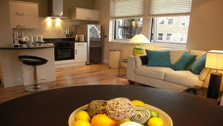 Living/kitchen area at The Courtyard Apartments - Citybase Apartments