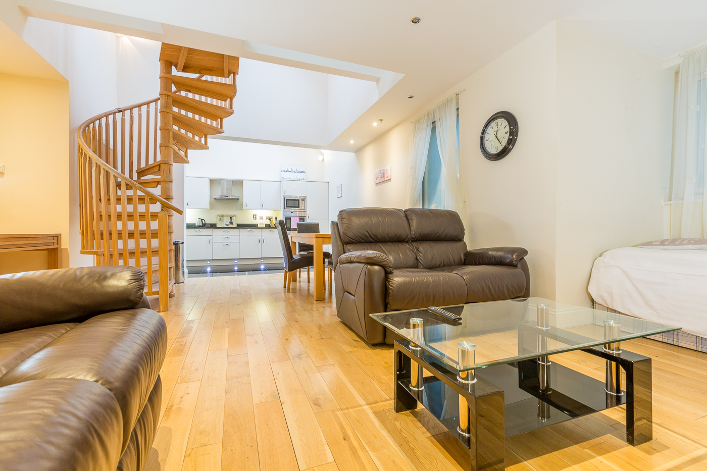 Open-plan living area at Castle Mews Apartment, Centre, Bedford - Citybase Apartments