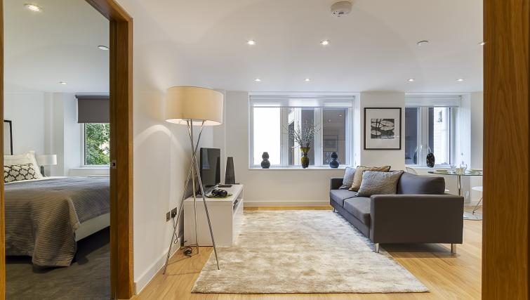 Modern living area at Fetter Lane by Q Apartments - Citybase Apartments