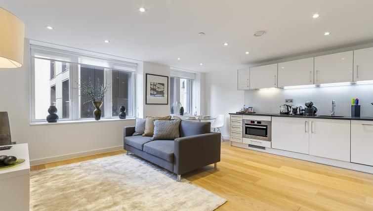 Open-plan living area at Fetter Lane by Q Apartments - Citybase Apartments