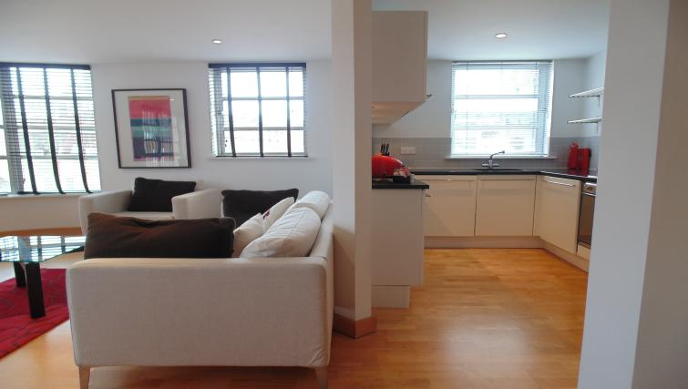 Open-plan living area at Still Life Liverpool Street - Citybase Apartments