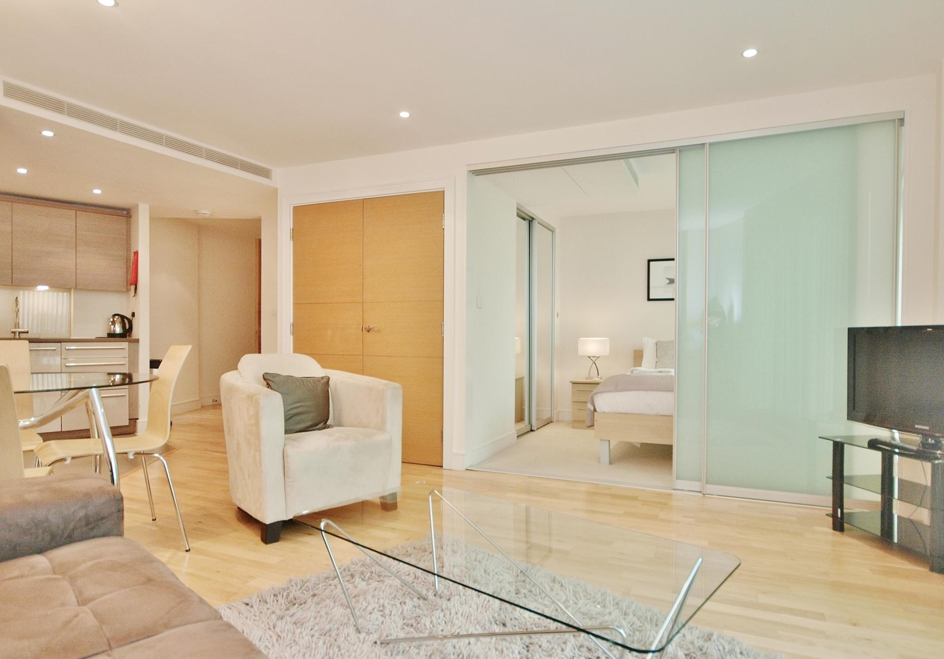Open-plan living area at Still Life Vauxhall - Citybase Apartments