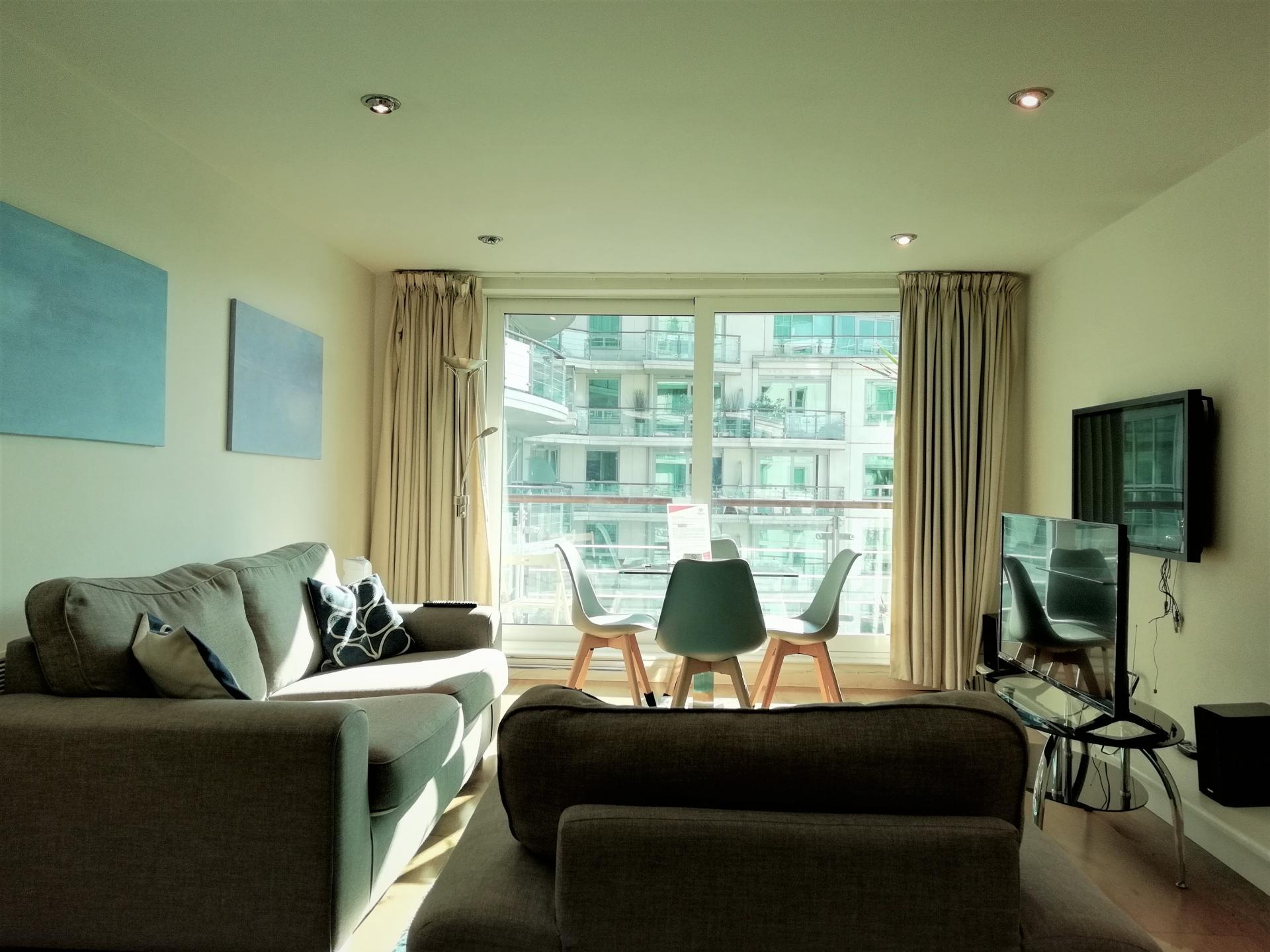 Large living area at Still Life Vauxhall, Vauxhall, London - Citybase Apartments