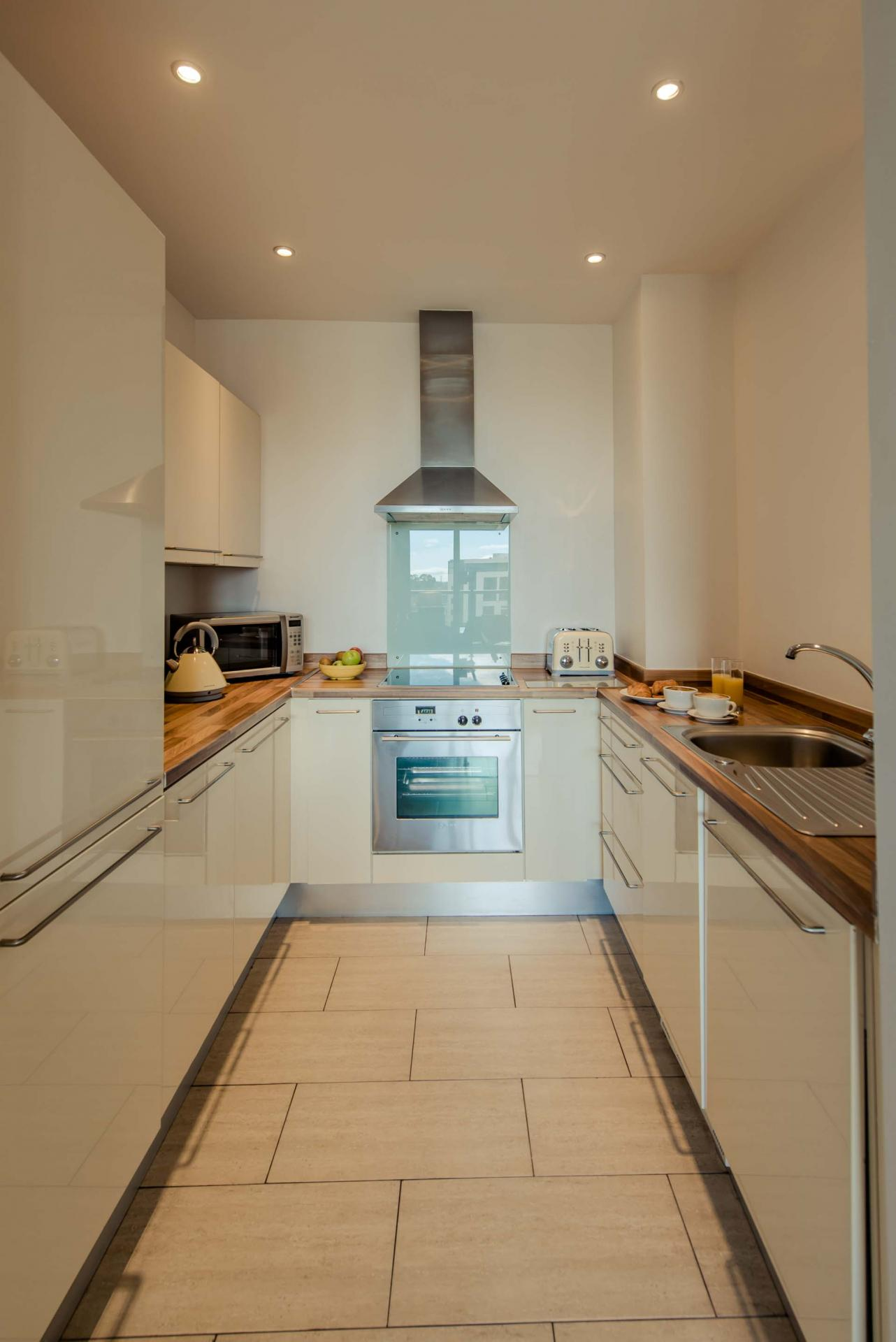 Kitchen at Premier Suites Dublin Sandyford, Sandyford, Dublin - Citybase Apartments