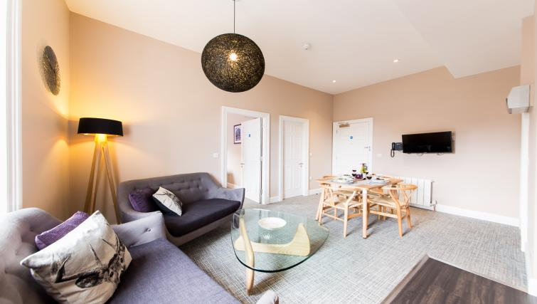 Living/dining area at The Spires Edinburgh - Citybase Apartments