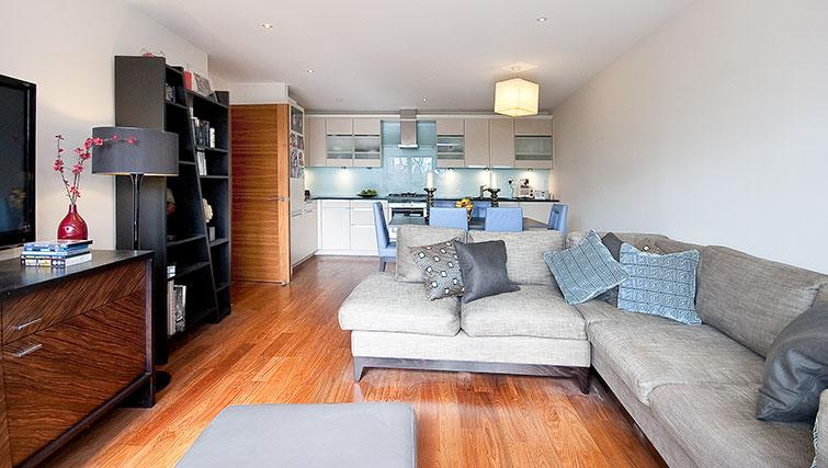 Open-plan living area at Still Life Barbican - Citybase Apartments