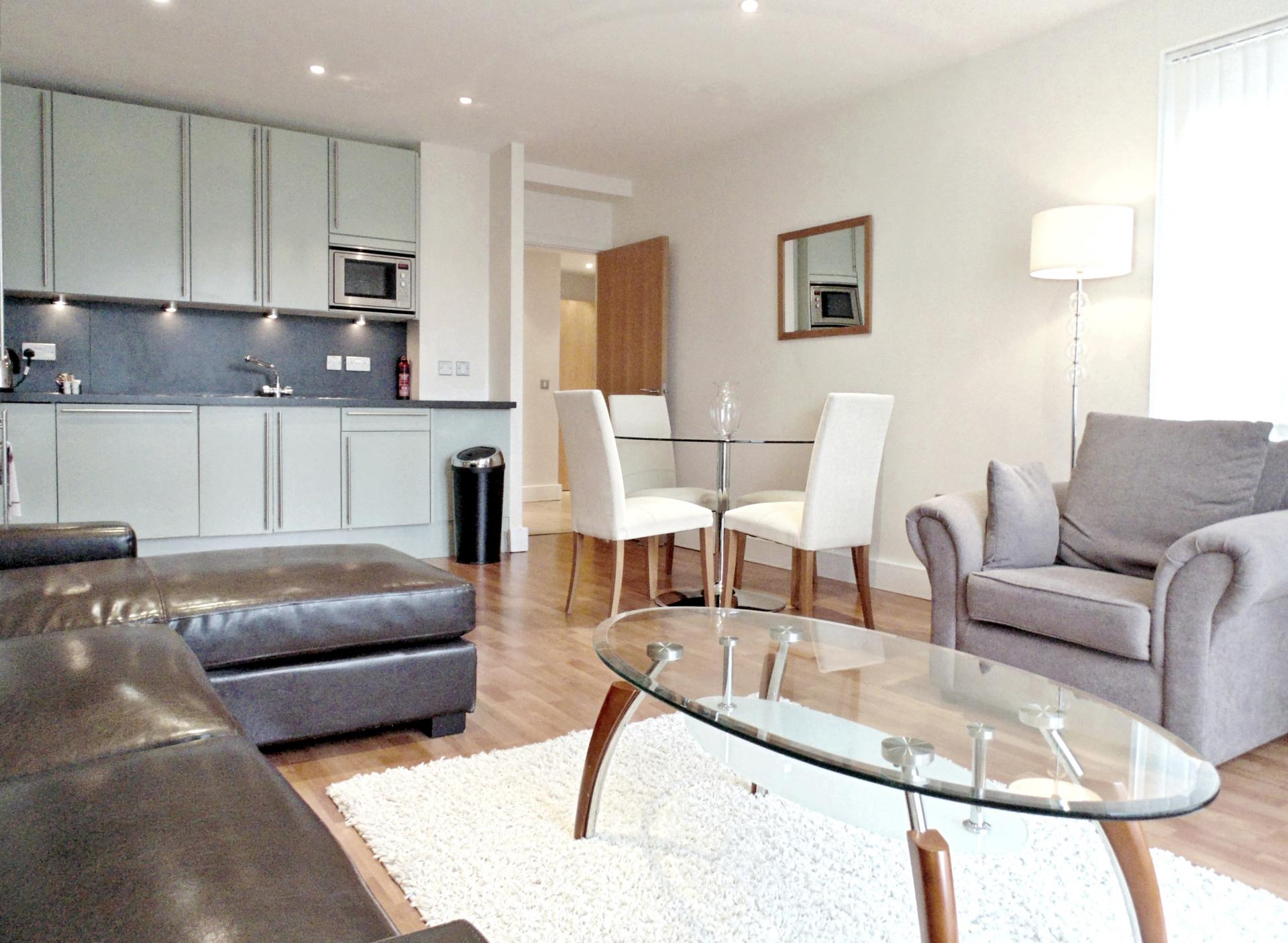 Open-plan living space at Still Life Tower Hill Executive - Citybase Apartments