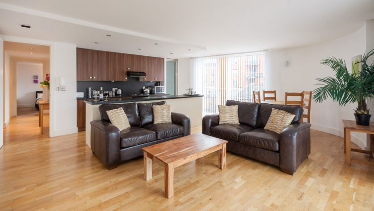 Open-plan living area at Sinclair Apartments - Citybase Apartments