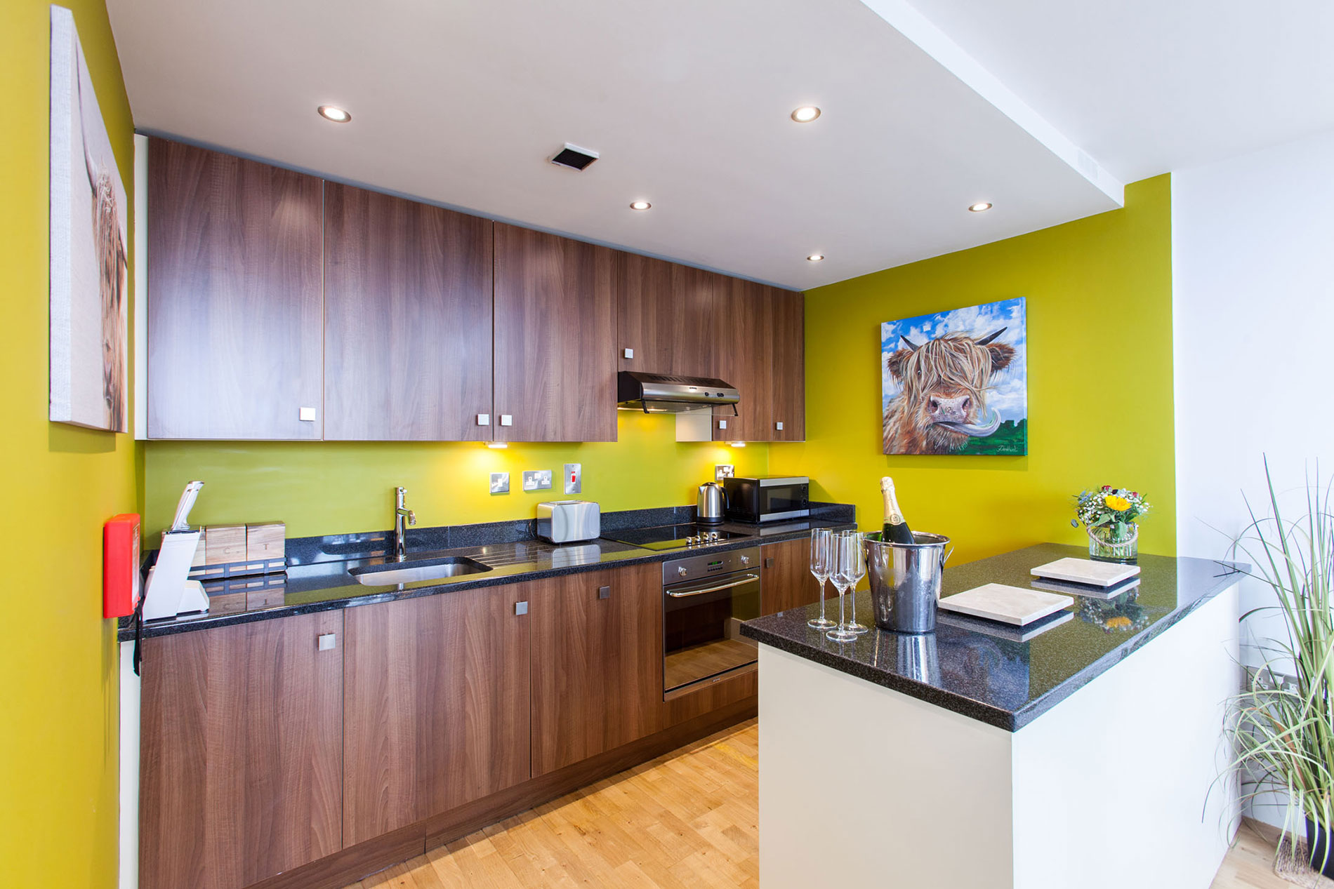 Wooden kitchen at Sinclair Apartments, Centre, Sheffield - Citybase Apartments