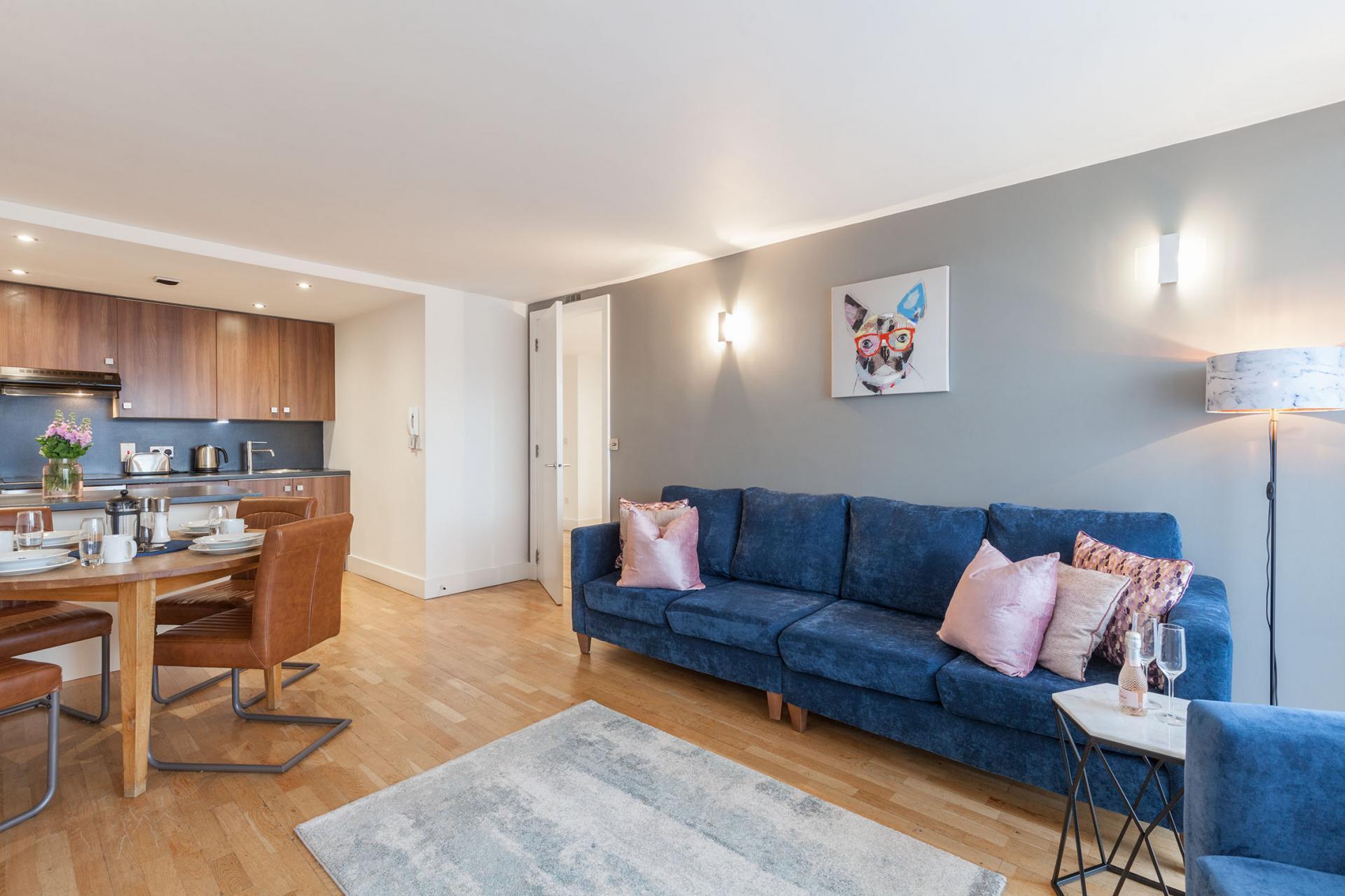 Blue sofa at Sinclair Apartments, Centre, Sheffield - Citybase Apartments