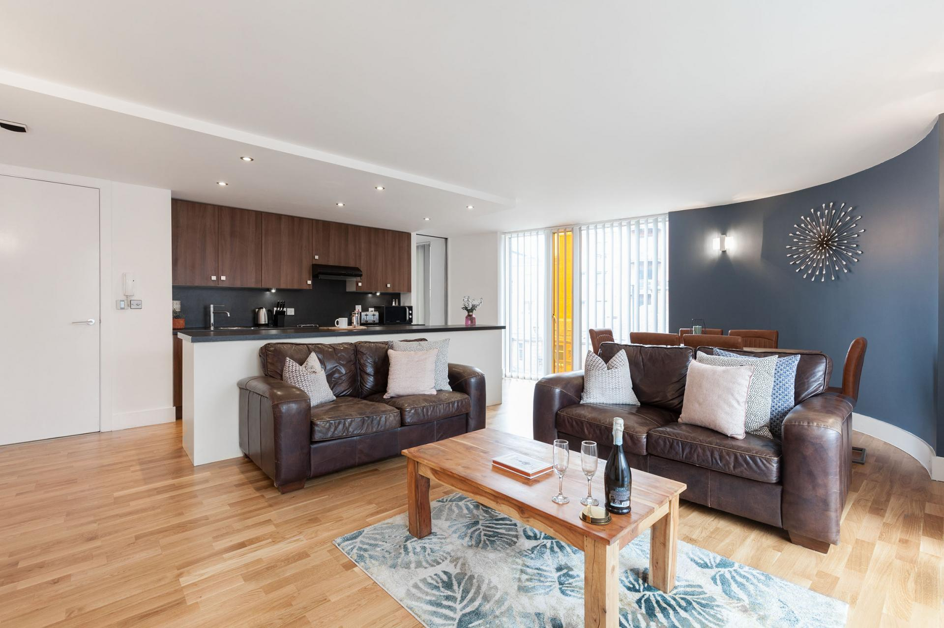 Open-plan layout at Sinclair Apartments, Centre, Sheffield - Citybase Apartments