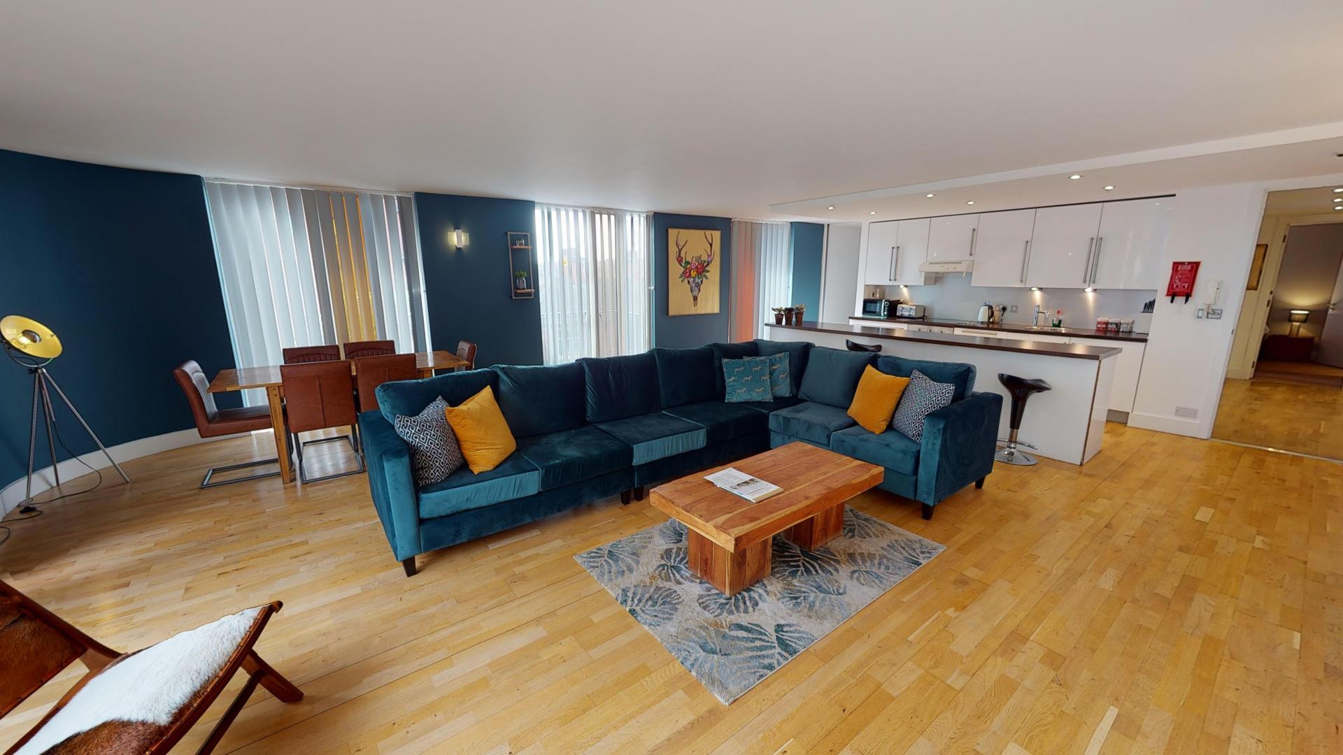 Velvet sofa at Sinclair Apartments, Centre, Sheffield - Citybase Apartments
