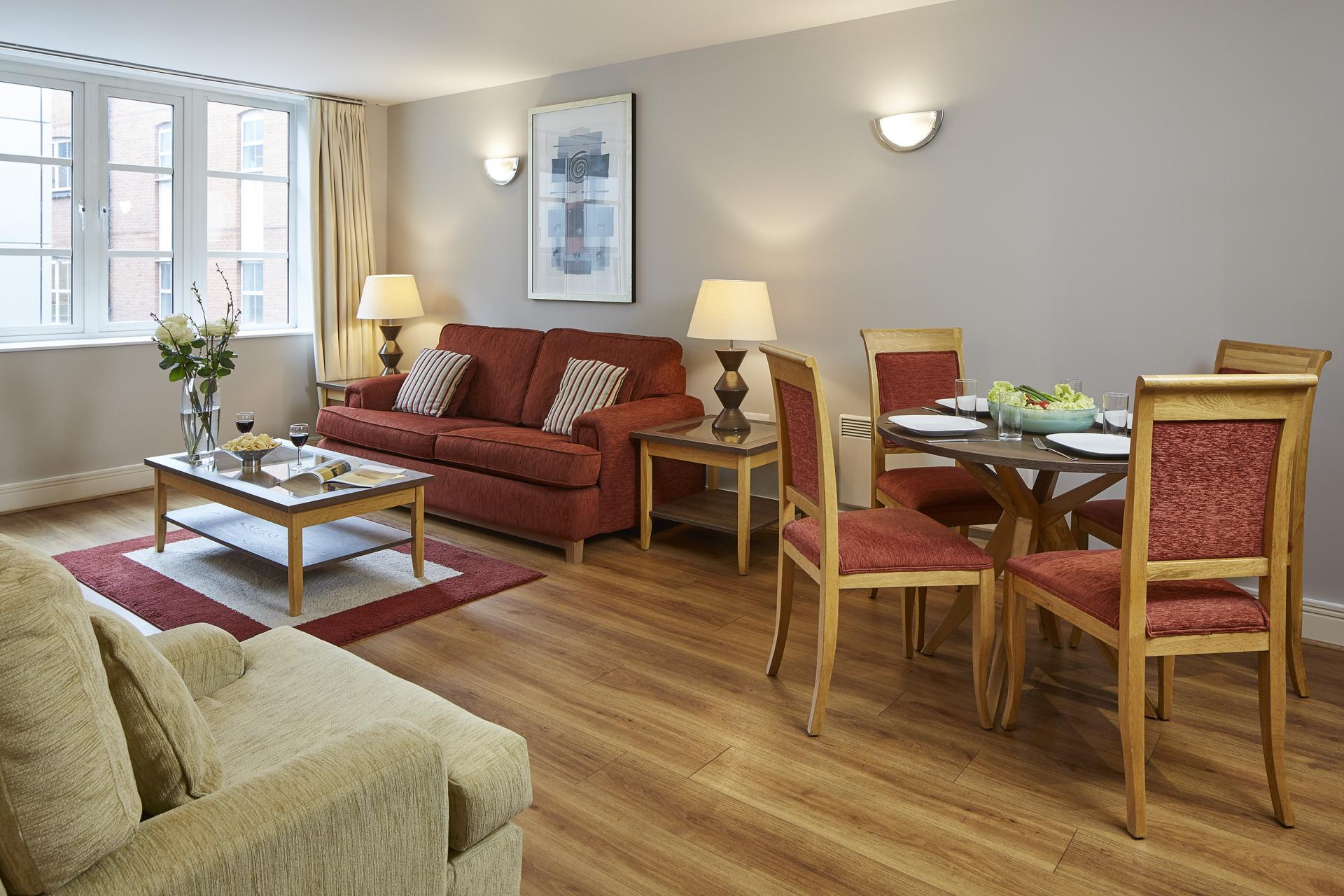 Living area at Queen Street St Paul's Apartments, Mansion House, London - Citybase Apartments