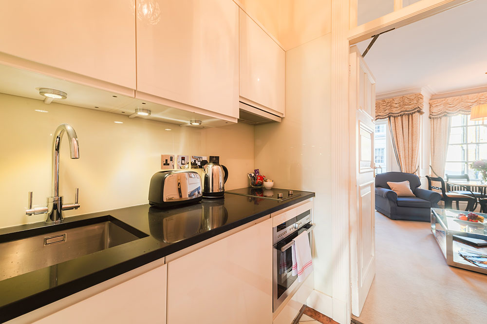 Kitchen at 44 Curzon Street Apartment, Green Park, London - Citybase Apartments