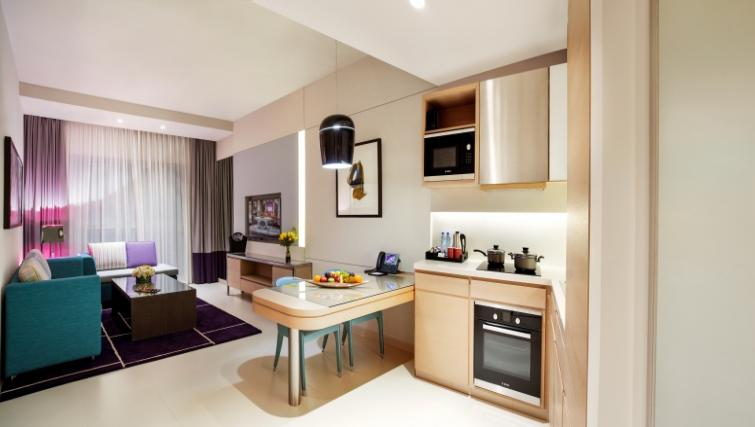 Living area at Capital Centre Arjaan Apartments - Citybase Apartments